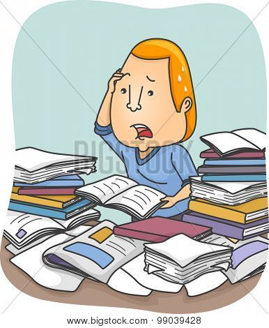 Illustration of a Man Being Overwhelmed with Information