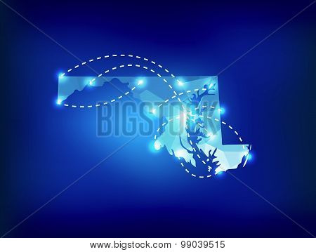 Maryland State Map Polygonal With Spot Lights Places