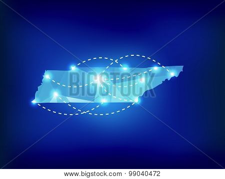 Tennessee State Map Polygonal With Spot Lights Places
