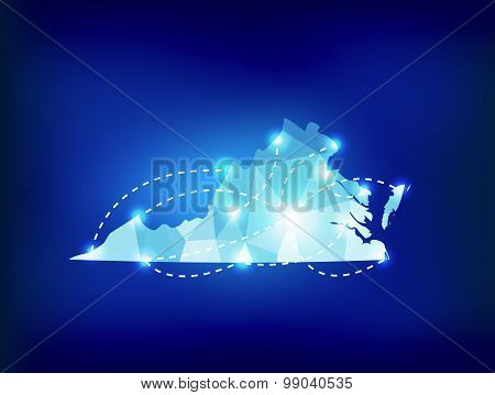 Virginia State Map Polygonal With Spot Lights Places