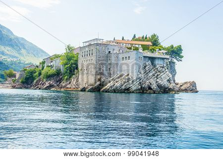 The famous island of St. Stephen in the Adriatic Sea near Budva. Montenegro.