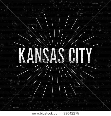 Abstract Creative concept vector design layout with text - Kansas city. For web and mobile icon isol