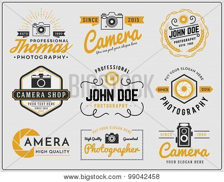 Set of photography and camera service logo insignia