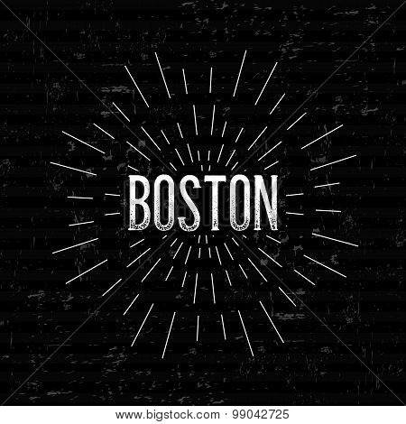 Abstract Creative concept vector design layout with text - Boston. For web and mobile icon isolated