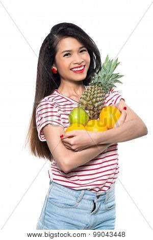 Asian girl with fruits
