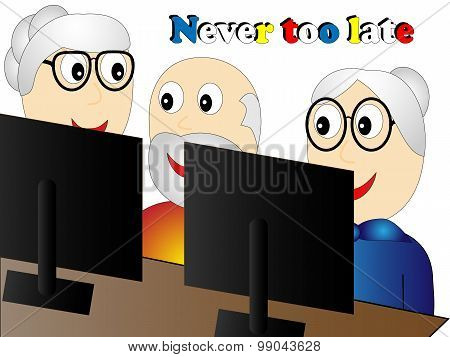 Seniors At The Course Of Information Technology Sitting At A Laptop
