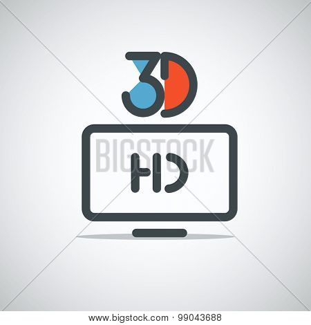 Modern media web icon. 3D movie concept