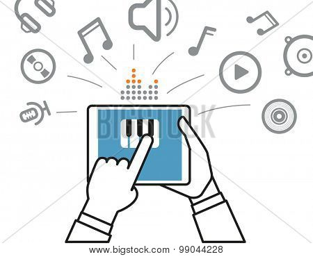 Making music via modern digital gadget. Simle line design illustration