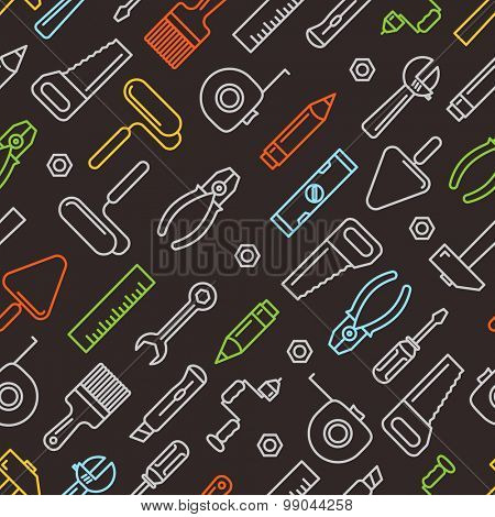 Different industrial equipment. Vector tools color seamless pattern