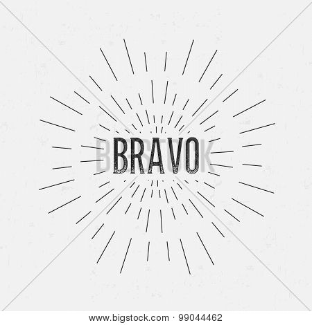 Abstract Creative concept vector design layout with text - bravo. For web and mobile icon isolated o