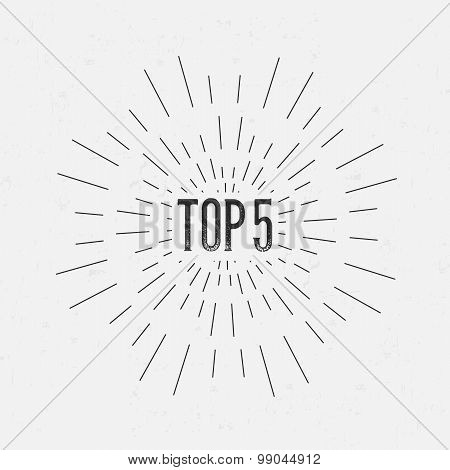 Abstract Creative concept vector design layout with text - top 5. For web and mobile icon isolated o