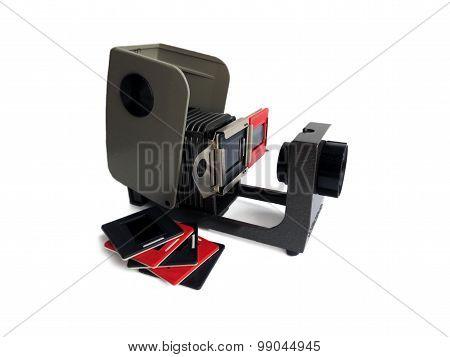 Vintage slide projector with film holder