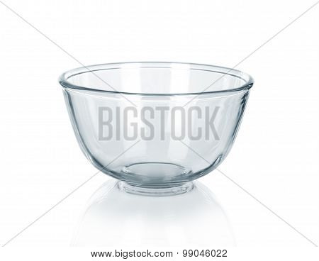 Empty Glass Bowl On White Background