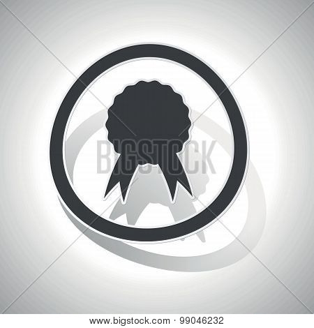 Curved certificate sign icon