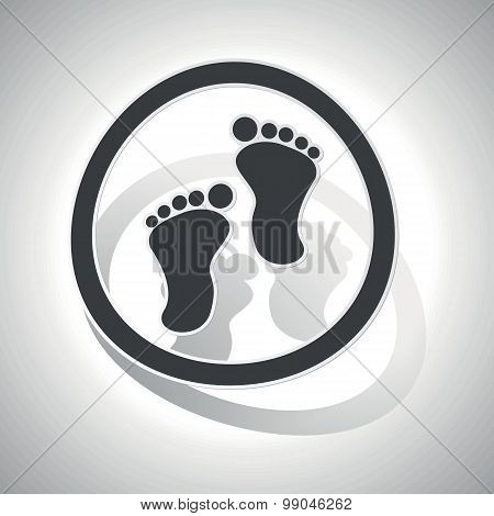 Curved footprint sign icon