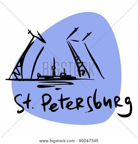 St. Petersburg Russia Drawbridge Neva