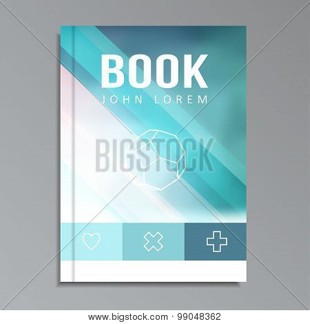 Modern Book, Brochure Cover With Blue Blurred Background, Vector