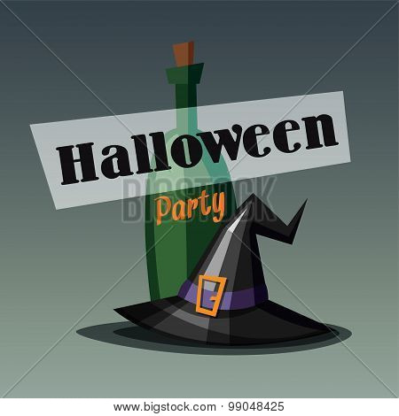 Retro Halloween Party Invitation, Card With Witch Hat And Wine Bottle
