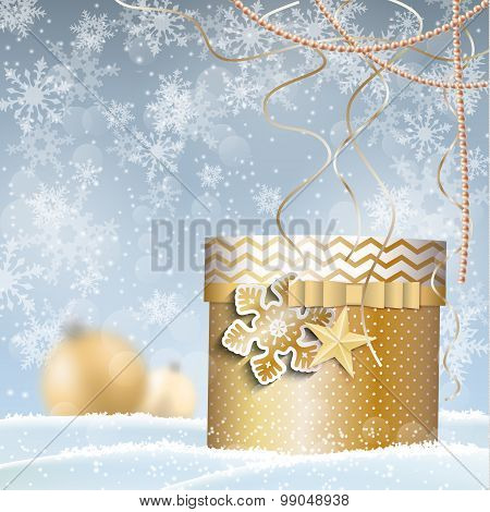 golden giftbox, christmas motive