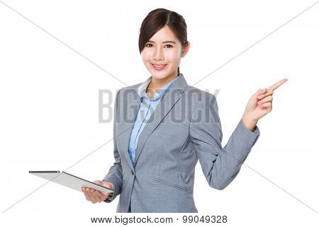 Asian Businesswoman hold with tablet pc and finger point up