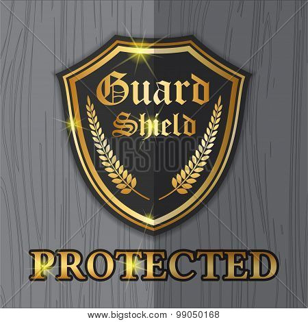 Premium shield guard label logo design for protection concept