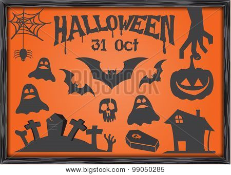 Set of Halloween icons decoration and element