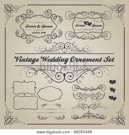 Set of vintage wedding ornaments and decorative elements
