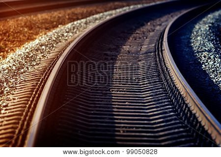 Railway Track In Russia. Tinted.