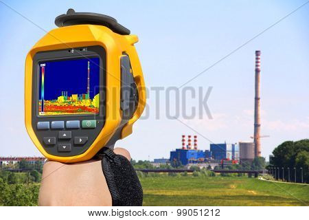 Record At The Chimney Of Energy Station With Thermal Camera