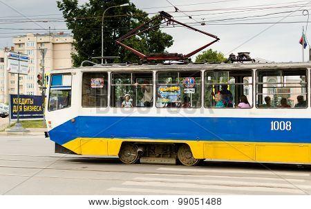 Modern Russian Tram Transporting People