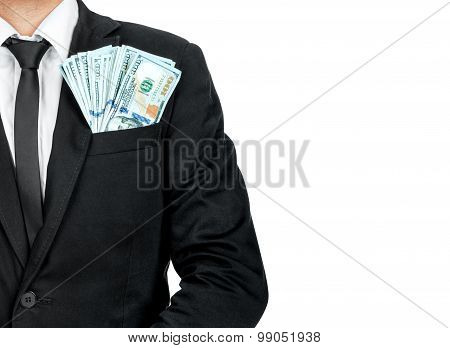 Close Up Of Money In Male Suit Pocket.