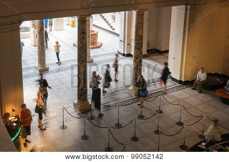 LONDON, UK - AUGUST 24, 2014:  Victoria and Albert Museum main entrance. V&A Museum is the world's l