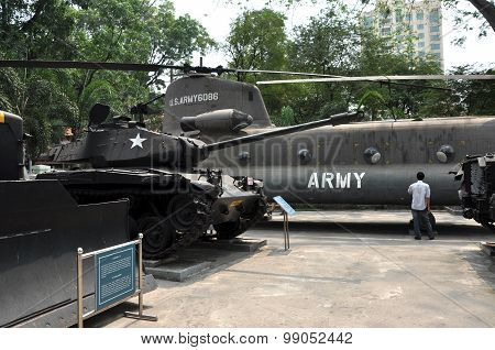 Us Military Helicopter And Tank Exposed In The War Remnants Museum, Saigon, Vietnam