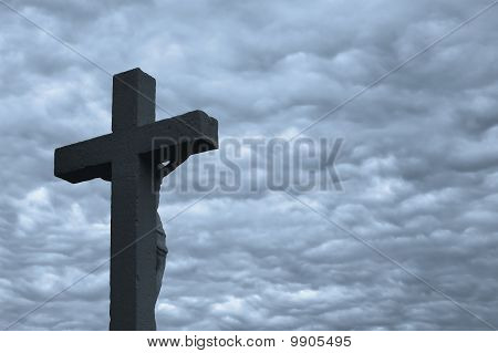 Dark sky above the crucifix