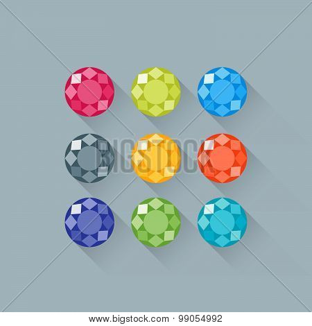 Flat Gems Icons Set With Long Shadows