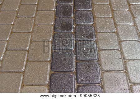 Wet Decorative Dark And Light Tiles, Road Detail
