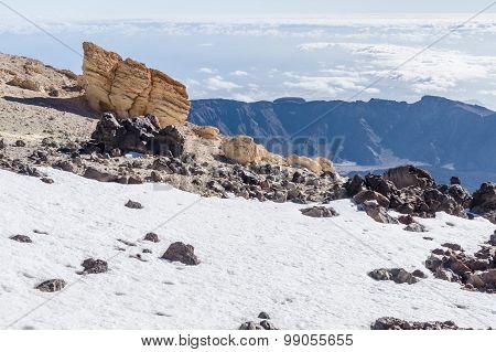 Snowy Hillside Of Volcano Teide Peak, Tenerife