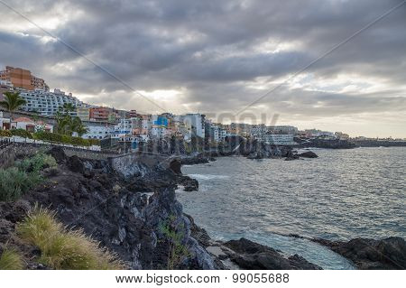 Cloudy Weather In Coastal Resort Town Puerto De Santiago, Tenerife, Canary Islands, Spain