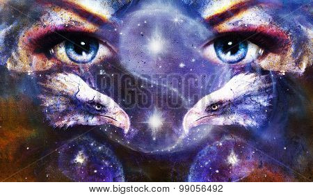 painting eagles with woman eyes on abstract background and Yin Yang Symbol in space with stars. Wing