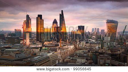 City of London panorama at sunset.