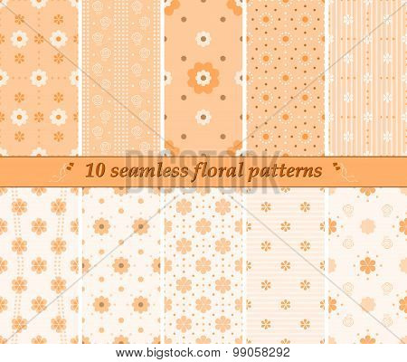 10 Seamless Cute Floral Patterns In Orange Colors