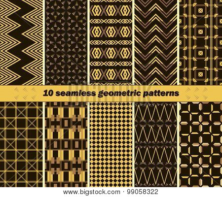 10 Seamless Abstract Elegant Geometric Patterns