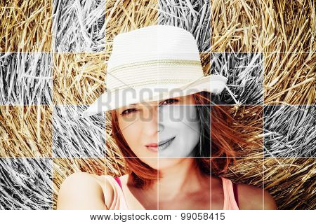 Young Caucasian Woman Is Sitting In Front Of The Haystack With Bleached Squares And Grid