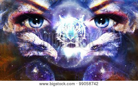 painting eagles and tiger with woman eyes on abstract background in space with stars. Wings to fly.
