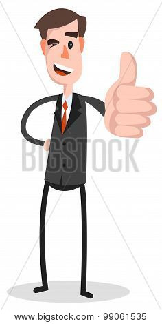 Flat Businessman Tablet Thumb