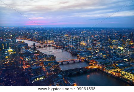 City of London panorama in sunset.