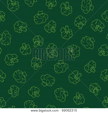 broccoli green seamless pattern