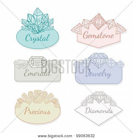 Vector Frame Collection With Gems And Crystals