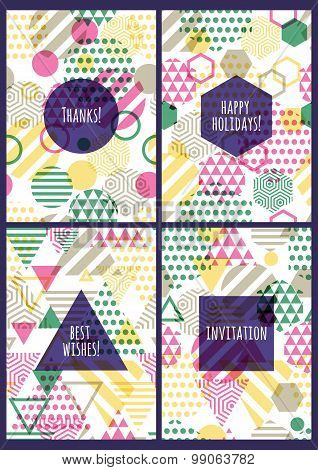 Set Of Vector Creative Cards With Seamless Geometric Pattern.
