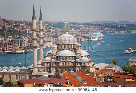 Beautiful View Of Suleymaniye Mosque And Sea Of Marmara, Istanbul, Turkey
